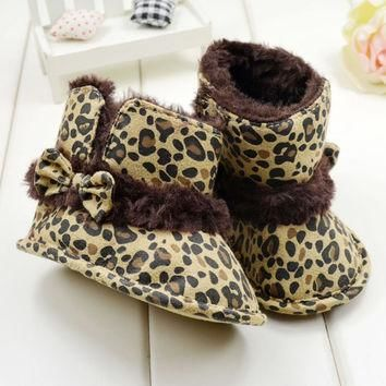 Girls  winter boots Leopard Bow Soft bottom toddler shoes First
