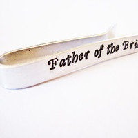 Father of the Bride and Groom Personalized Tie Clips, Hand Stamped Tie Clip, Custom Tie Bar, Men's Wedding Accessories, Wedding Party, gift