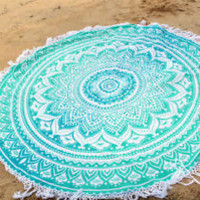 Bohemian Mint Mandala Round Beach Tapestry Hippie Throw Yoga Mat Towel Roundie