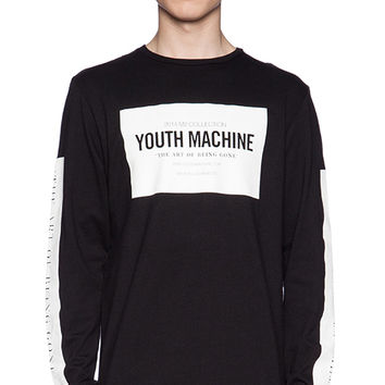 Youth Machine Index Long Sleeve Tee in Black & White