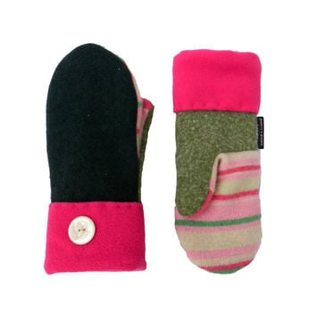 Green Wool Mittens,Sweater Mittens, Women's Mittens, Handmade in Wisconsin Hot Pink Upcycled Stripes Fleece Lined Sweaty Mitts Recycled