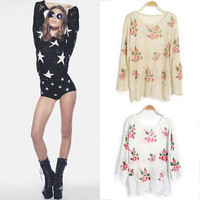 Oversized Star Floral Distressed Frayed Jumper Hole Knitwear Sweater Tops