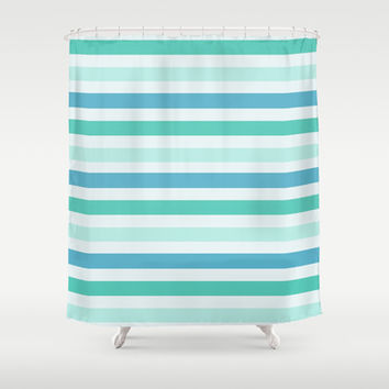 Beach Blue And Green Stripes Shower Curtain Promoters