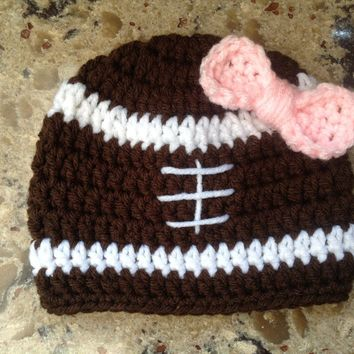 Football Girl's Crochet Beanie Hat Football Hat Sport hat Girls Hat