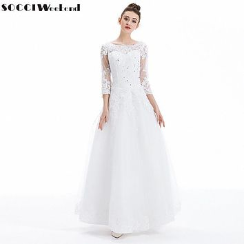 SOCCI Weekend Wedding Dresses Vestido De Noiva Luxury French Tulle Lace Marriage Dress Long Sleeve Vantage Bride Bridal Gowns