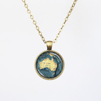 Vintage Australia Map Necklace - Australia & the Ocean around it- Vintage Map Series