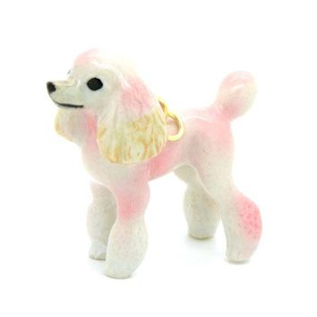 Pink French Poodle Puppy Dog Porcelain Hand Painted Ceramic Animal Pendant Necklace | Handmade