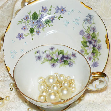 Vintage Demitasse Cup & Saucer Set Purple Flowers Gold Trim Teacup Set