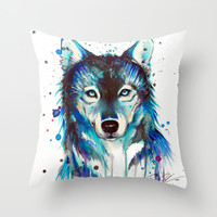 -Dark Wolf- Throw Pillow by PeeGeeArts