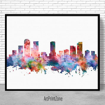 Denver Skyline, Denver Print, Denver Colorado, Office Decor, Office Art, Watercolor Skyline, Watercolor City Print, ArtPrintZone