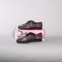 90s VANS Plaid SNEAKERS / 1990s Chunky Rubber Sole WOOL Trainers 8 with Box