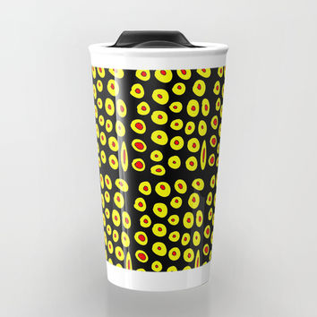 red and yellow polka dot- polka,polka dot,dot,pattern,circle,disc, point,abstract, minimalism Travel Mug by oldking