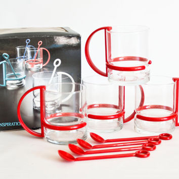 New in Box- Vintage 1980s Inspiration Glass Coffee Cups, Bodum Style Mugs with Plastic Handles, Spoons, Picard Style Mug Set