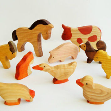 Farm Animals Toy Set (11pcs) Waldorf toys Wooden animals Pretend play Waldorf nature table Animal figures Handmade Eco 1/64 farm toys