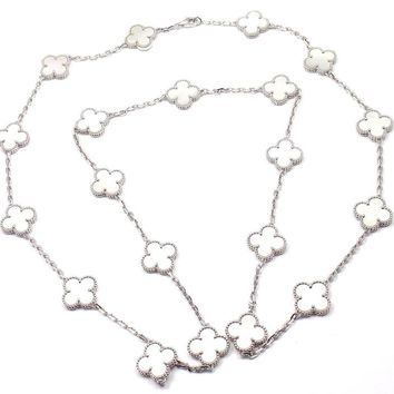 Van Cleef & Arpels Alhambra 20 Motifs Mother-of-Pearl White Gold Necklace