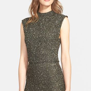 Women's Alice + Olivia 'Bridget' Embellished Crop Top,