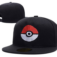 HAIHONG Pokemon Pokeball Logo Adjustable Snapback Caps Embroidery Hats - Black