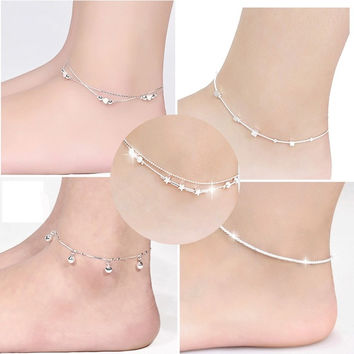 Good 925 Silver Plated Chain Single Bracelet Anklet Barefoot Sandal Beach Foot Jewelry Hot Sale = 5658243137