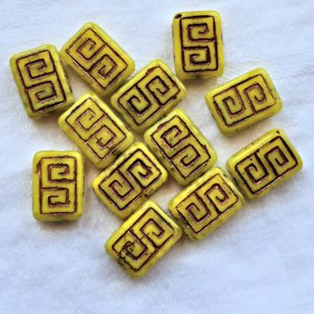12 Czech glass rectangle beads - translucent yellow with a bronze wash - Greek key pattern rectangular beads - 13 x 9mm C0901