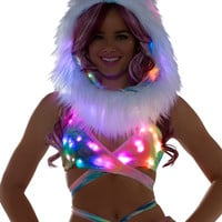 Pastel Tie Dye Holographic LED Rave Wrap Halter Top