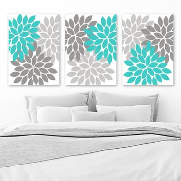 Turquoise Gray Wall Art, Flower Wall Art, Floral Bedroom Wall Decor Canvas or Prints Floral Bathroom Decor, Flower Petals Art, Set of 3