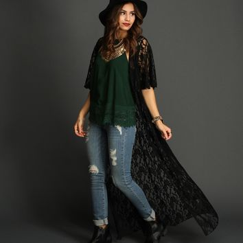 Sale- Black On The Run Lace Duster