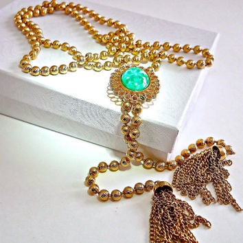 Lariat Necklace Juliana D&E for Avon Peking Glass Jade Vintage Gold Ball Chain