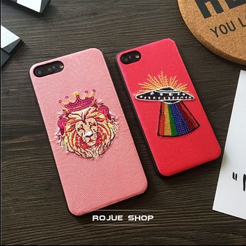 Goddess leather embroidery crown lion flying saucer iPhone7 phone shell iphone 6splus all-inclusive