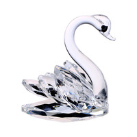 3inch Glass Crystal Swan Figurines Paperweight Crafts Art&Collection Table Car Ornaments Souvenir Home Wedding Gifts Decoration