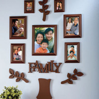 Brown 12 Pc Family Tree Photo Picture Frame Set Home Wall Display Decor New
