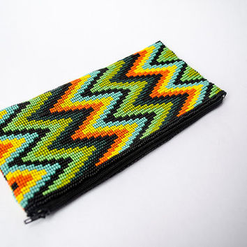 Native American Beaded Clutch Purse - Handcrafted Makeup Bag - Mexican Beadwork - Boho Diamond Colorful Purse