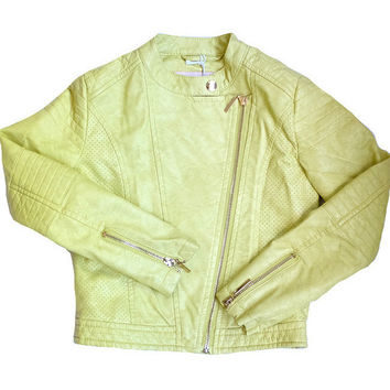 Gaudi - Girls Teen Faux Leather Jacket, Yellow - 8Y