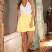 Think Of Me Fondly Romper, Yellow