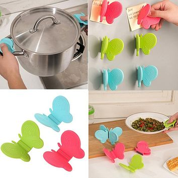 Silicone Heat Proof Insulation Microwave Oven Plate Dish Tray Clip Clamp Holder Butterfly Kitchen Heat Insulation Clip