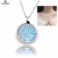 Love Tree Stainless Essential Oils Diffuser Locket Pendant Necklace 25MM Round Aromatherapy Locket with Chain Felt Pad