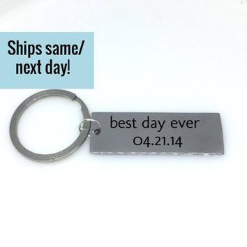 Best Day Ever, Couple Keychain, Initial Keychain, Letter Keychain, Engraved Keychain, Custom Keychain, Customized Keychain, Gift for Her