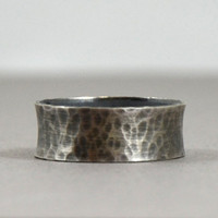Sterling Silver Ring Band for Men - 10 mm Mens Wedding Band -  Hammered Rustic Flared Black Ring - Oxidized Wedding Ring Men