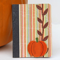 Striped Mini Journal with Pumpkin, Handmade Pocket Notebook, Altered Composition Book, Fall Colors