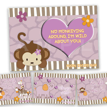 Girls Safari Valentines - Girl Classroom Valentine Cards - Purple Monkey - Giraffe - Hippo - Elephant - Hearts - Animal Print - Card Set