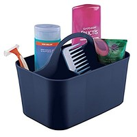 mDesign Bathroom Shower Caddy Tote for Shampoo, Soap, Razors - Navy Blue