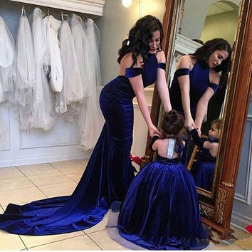 Royal Blue Velvet Mother Daughter Matching Dress Halter Neck Off