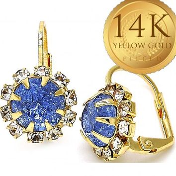 Gold Layered Women Flower Leverback Earring, with Light Sapphire Crystal, by Folks Jewelry