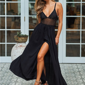 Against The Tides Maxi Skirt Black