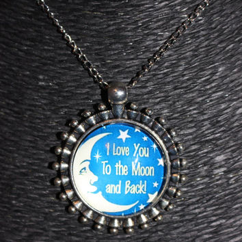 """Silver, Blue and White Moon """"I Love You to the Moon and Back!"""" Pendant Necklace"""