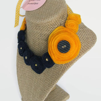 Yellow and Navy Felt Necklace for Girls