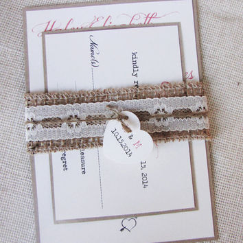 Burlap Wedding Invitation,Belly Band ,Heart tag, Rustic Burlap Simple Wedding Invitation