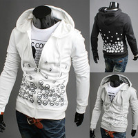 Print Slim Fit Zip Up Mens Hoodie