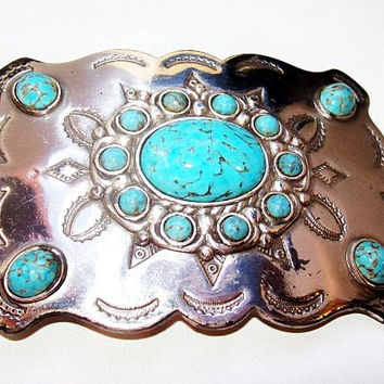 "Turquoise Belt Buckle South Country Western Cowboy-Girl Silver Plated Rodeo BIG 4"" Vintage"