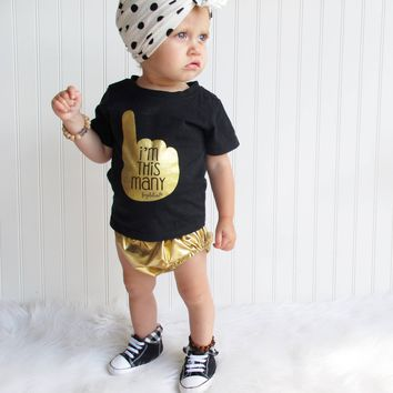 """I'm This Many"" One Year Old Birthday T-Shirt, Black & Gold Foil, Boy or Girl"