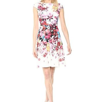Adrianna Papell Boat Neck Cap Sleeve Zipper Back A-Line Floral Stretch Crepe Dress